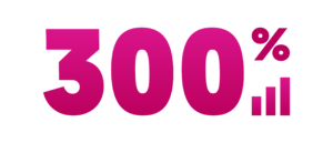 A large image of the word 300% in bright pink