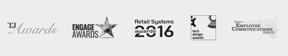 logos of awards which oplift has won including tj awards, engage awards, retail systems awards, tech design awards, ragan's employee communication awards