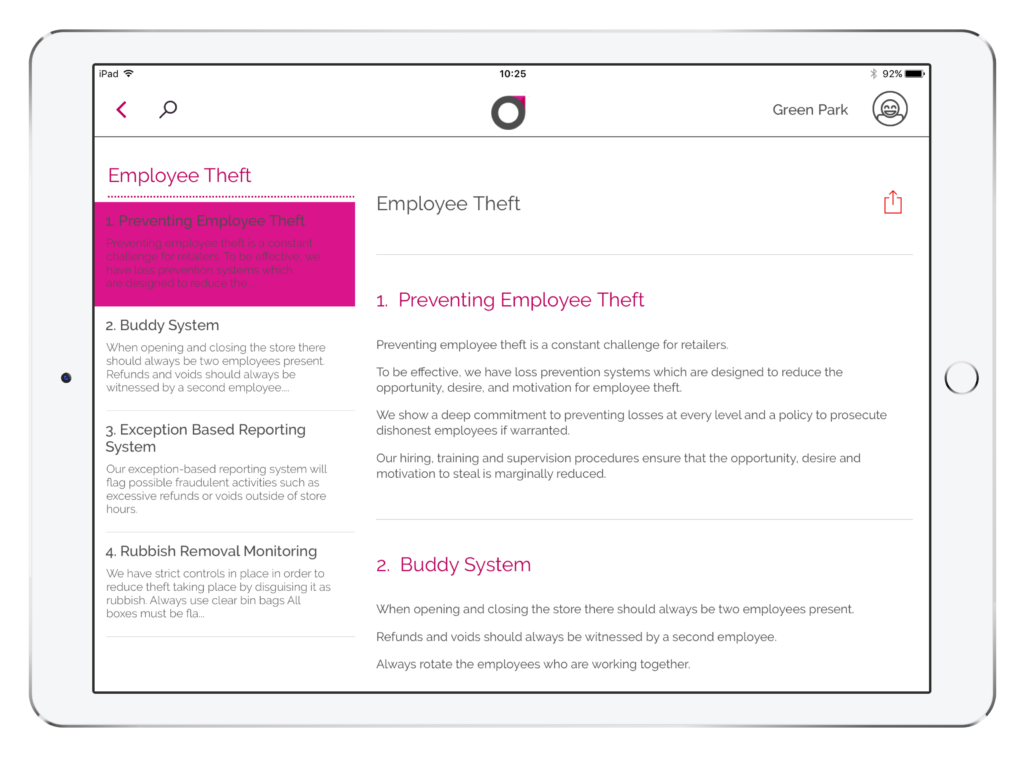 An article on an iPad about employee theft