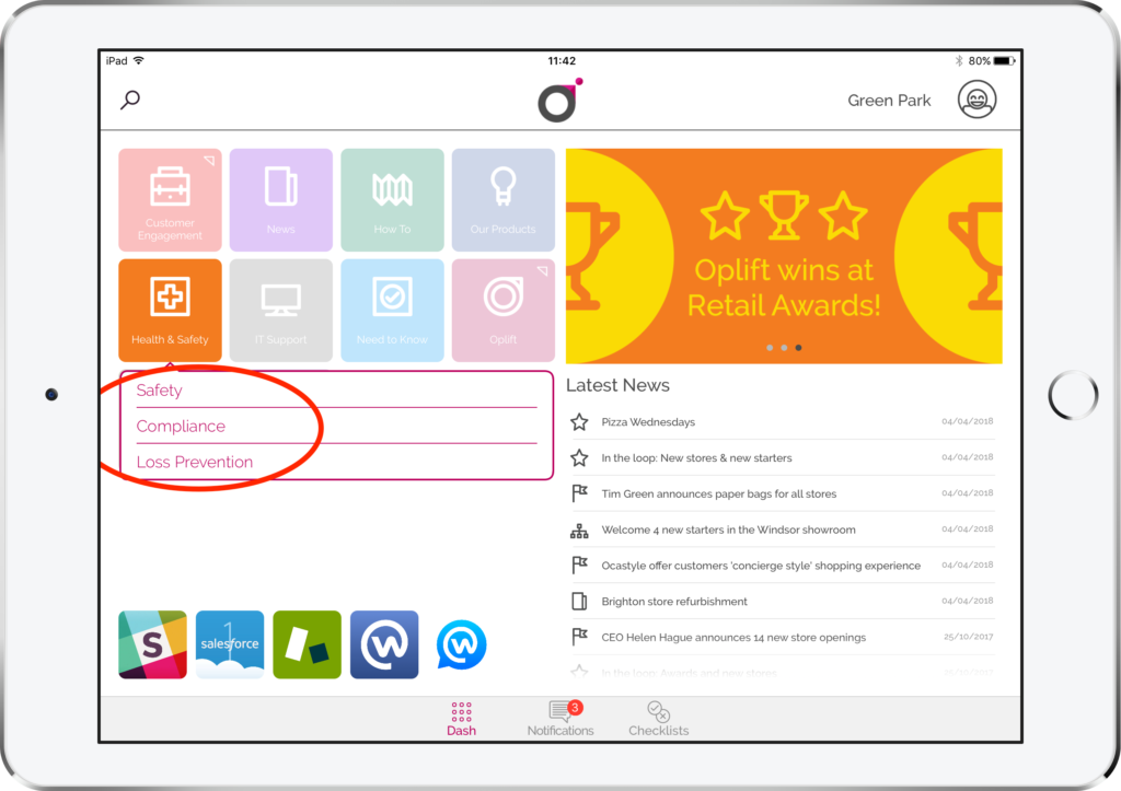 AN iPad with the Oplift engage dashboard on