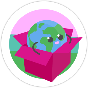 A globe with arms and legs sitting in a box