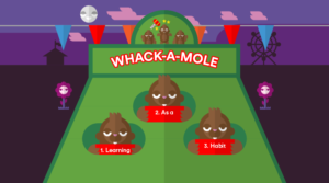three moles holding red cards popping their heads out of a board with holes in it