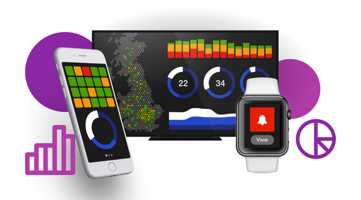 Graphs and stats on a smart watch, a mobile device and a desktop computer