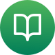 A green icon with a reading book on the front for learning
