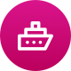 A pink circle with a ship icon on the front for onboarding