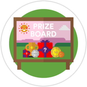 A pink board saying prize board with lots of presents on it from our microlearning app