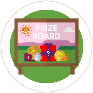 A pink board with presents on called titled prize board