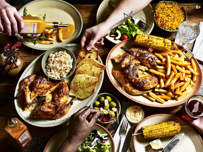 Sharing platter of food from Nando's