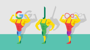 Google, John Lewis and Virgin Media logos on peoples heads