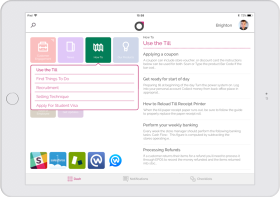 An image showing the Engage dashboard where employees can easily find articles they need to do their job