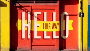 A hello sign for the employee onboarding app