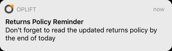 An image of an employee notification