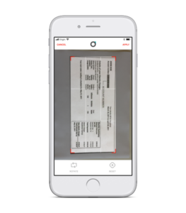 Scanning app on an iPhone capturing a document to scan from the employee preboarding app