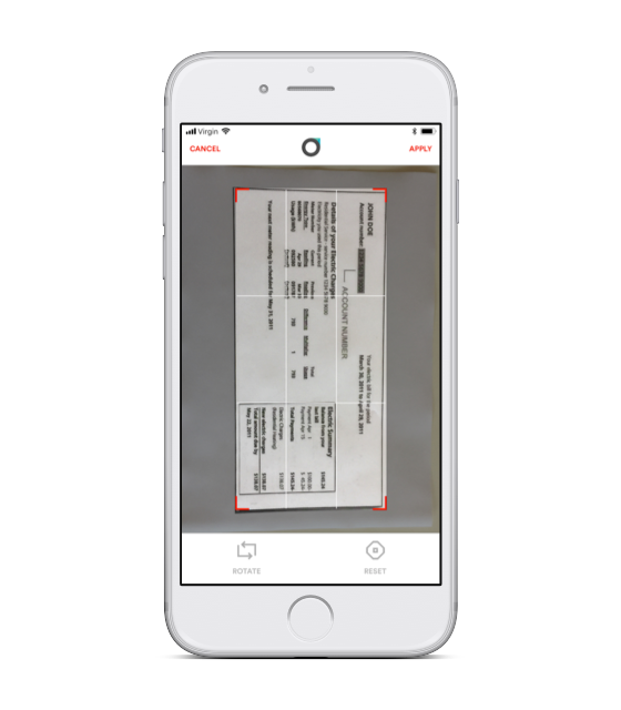 Scanning app capturing a document to scan